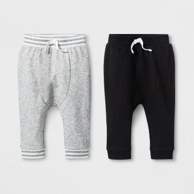 Baby Boys' 2pk French Terry Jogger Pants - Cat & Jack™ Gray/Black Newborn