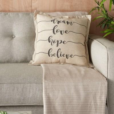 "18""x18"" Dream Love Hope Believe Throw Pillow Natural - Kathy Ireland Home"