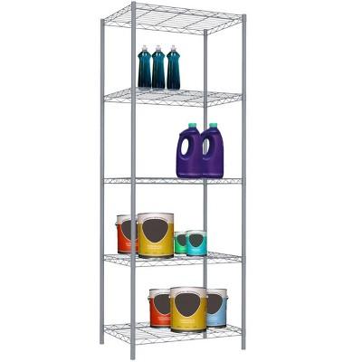 Home Basics 5 Tier Steel Wire Shelf, Grey