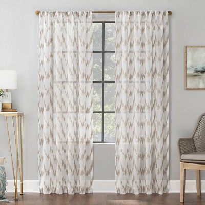 Santo Ikat Print Textured Sheer Rod Pocket Curtain Panel - Scott Living