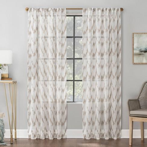 84 X52 Santo Ikat Print Textured Sheer Rod Pocket Curtain Panel Linen Scott Living Target