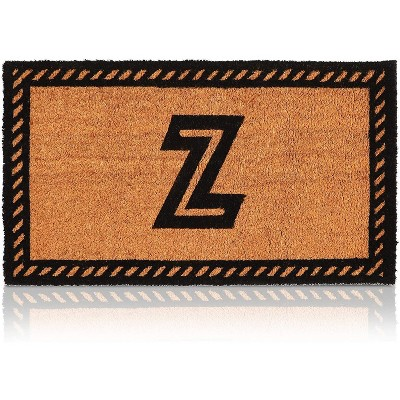 Monogrammed Door Mat with Letter Z, Nonslip Coir Welcome Mat (17 x 30 Inches)