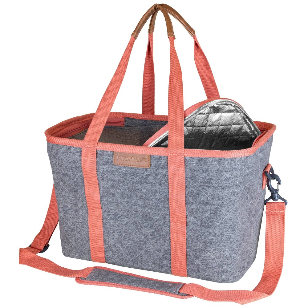 Clevermade Premium Luxe Insulated Collapsible Grocery Shopping Bag Tote With Zippered Lid And Shoulder Strap Heather Gray Coral