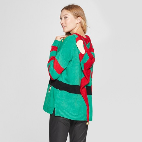 Womens Elf Ugly Sweater With Ears 33 Degrees Juniors Green