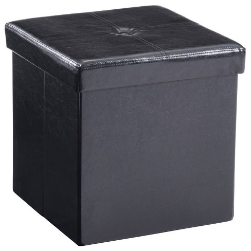 Tremendous Cube Foldable Faux Leather Storage Ottoman In Black Hodedah Gmtry Best Dining Table And Chair Ideas Images Gmtryco