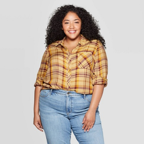 Women's Plus Size Plaid Long Sleeve Collared Button-Down Shirt - Universal Thread™ Yellow - image 1 of 3