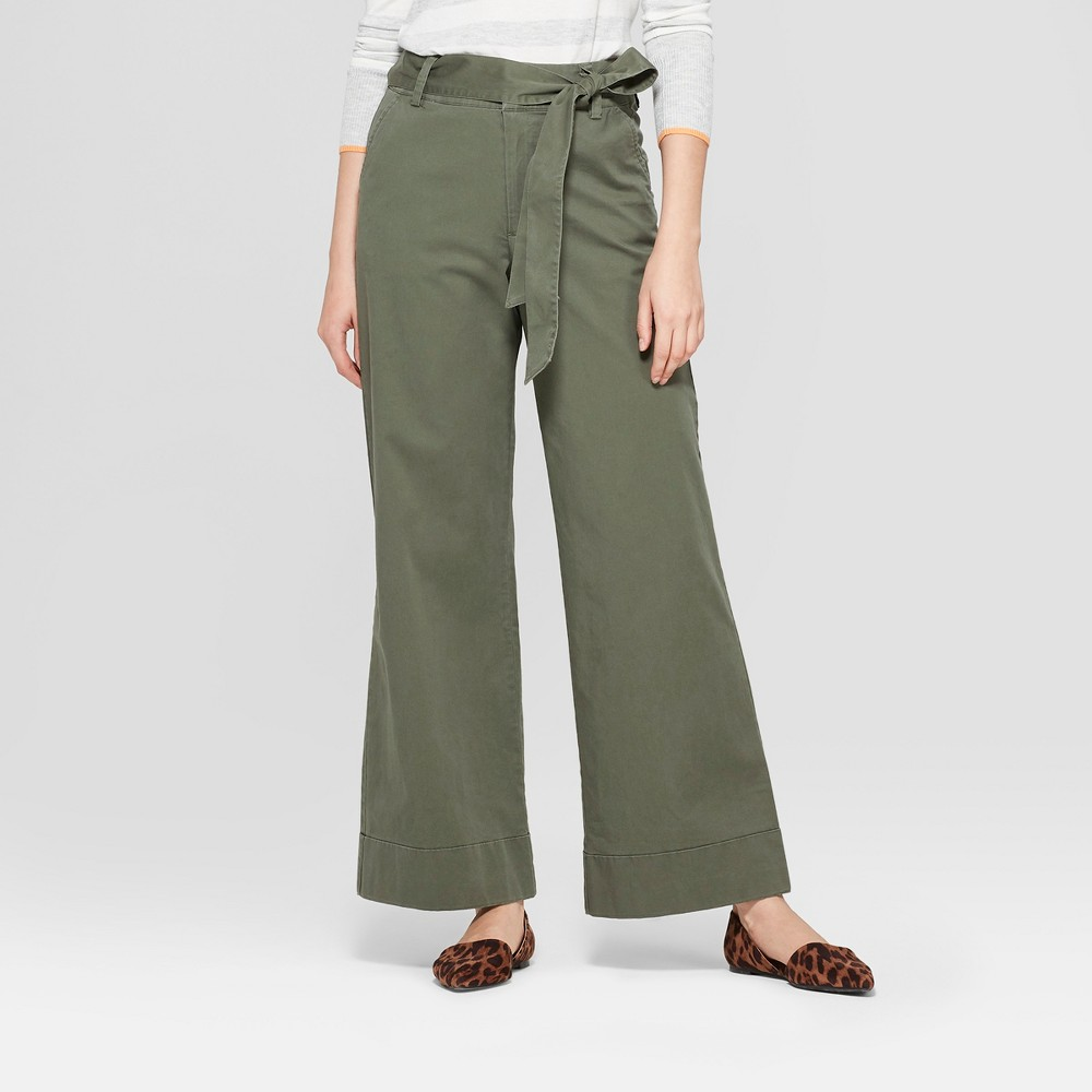 Women's Cuffed Wide Leg Trouser - A New Day Olive 16, Green