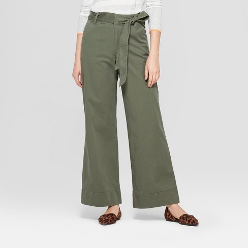 Women's Cuffed Wide Leg Trouser - A New Day™ Olive - image 1 of 3