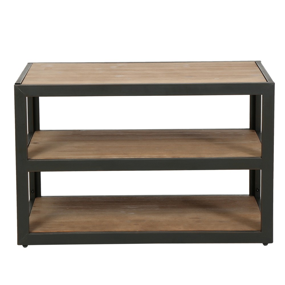 34 Perth 3-Shelf Industrial Media Console Antique - Christopher Knight Home, Brown