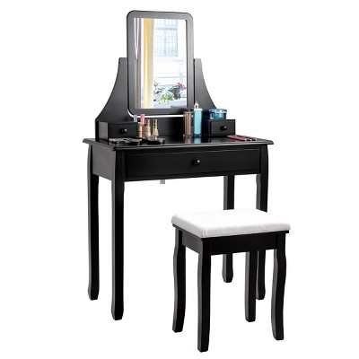 Costway Square Mirror Dressing Table Set Makeup Vanity for Bedroom, Living Room White/Black