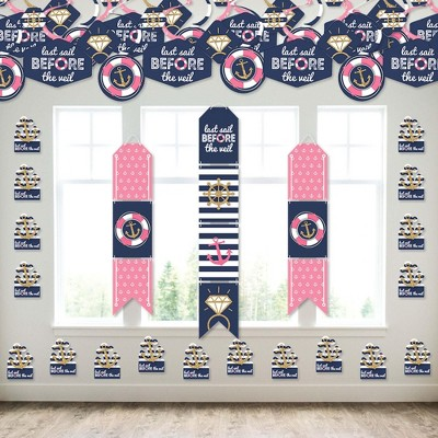 Big Dot of Happiness Last Sail Before The Veil - Wall and Door Hanging Decor - Nautical Bachelorette and Bridal Shower Room Decoration Kit