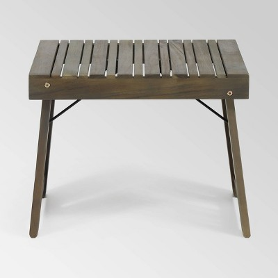 Kyoto Acacia Wood Folding Side Table - Gray - Christopher Knight Home