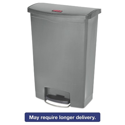 Rubbermaid Commercial Slim Jim Resin Step-On Container Front Step Style 24 gal Gray 1883606