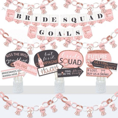 Big Dot of Happiness Bride Squad - Banner and Photo Booth Decorations - Rose Gold Bridal Shower or Bachelorette Party Supplies Kit - Doterrific Bundle