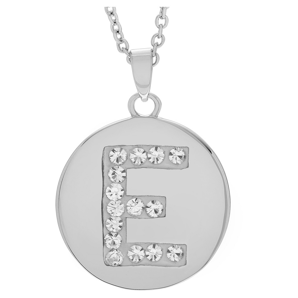Women's Journee Collection Brass Circle Initial Pendant Necklace with Cubic Zirconia - Silver, E (17.75), Silver Letter - E