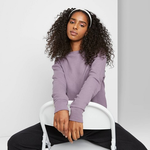 Women's Long Sleeve Crewneck Boxy Cozy T-Shirt - Wild Fable™ Purple - image 1 of 3
