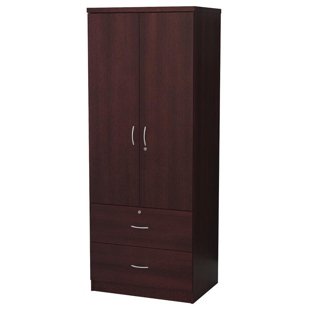 2 Door Wardrobe Wood Mahogany (Brown) - Home Source Industries