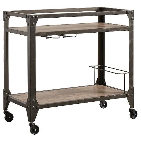 Ellison Industrial Metal + Wood Bar Cart - Brown - Inspire Q : Target