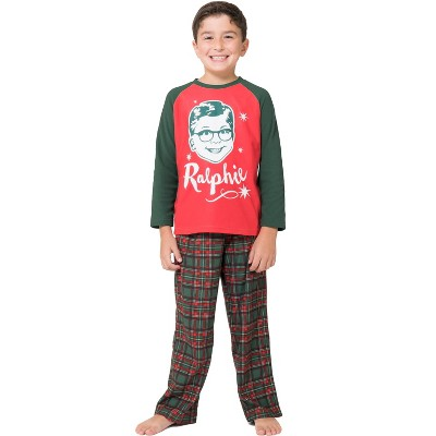 A Christmas Story Boys Ralphie Glasses Triple Dog Dare You Christmas Holiday Plaid Pajama Set