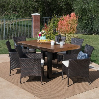Lenny 7pc Wicker and Light Weight Concrete Dining Set - Teak/Beige - Christopher Knight Home