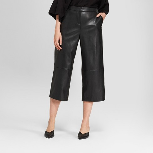 f38e29db75aec Women s Straight Leg Faux Leather Crop Pants - Prologue™ Black   Target