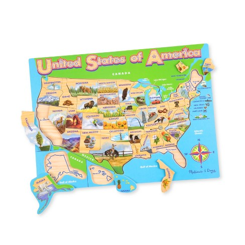 Melissa & Doug USA Map Wooden Jigsaw Puzzle 45pc : Target