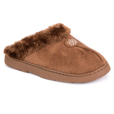Women's MUK LUKS® Faux Fur Lined Clog Slippers - Brown M(7-8)