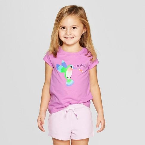 Toddler Girls' Short Sleeve 'Humming Bird' Graphic T-Shirt - Cat & Jack™ Purple 5T - image 1 of 3