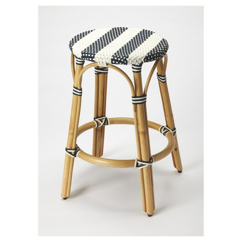 Super Tobias Rattan Counter Stool Black White Butler Specialty Machost Co Dining Chair Design Ideas Machostcouk