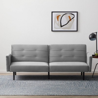 Comfort Collection Futon Sofa Bed with Buttonless Tufting - Lucid