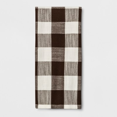 28 x18  Plaid Kitchen Towel Brown - Threshold™