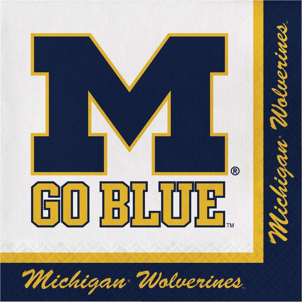 Image of 20ct Michigan Wolverines Napkins