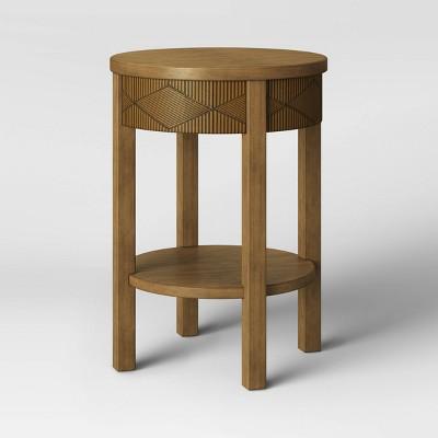 Tachuri Round Carved Wood End Table with Shelf - Opalhouse™