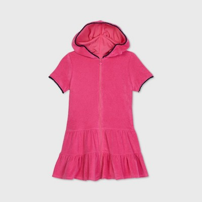 Girls' Hooded Terry Front-Zip Cover Up - Cat & Jack™
