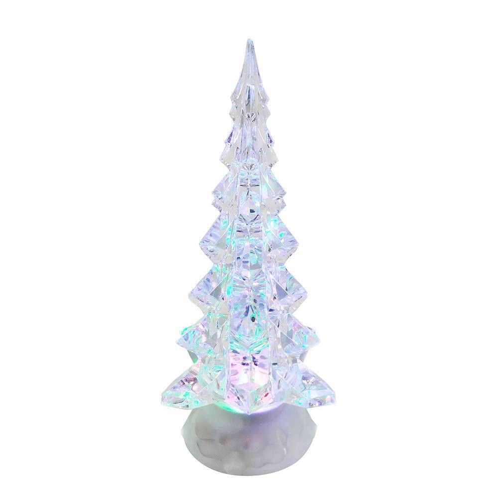"Image of ""10.25"""" Kurt Adler Battery Operated LED Clear Tree Table Piece with Motion Decorative Sculpture"""