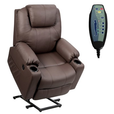 Costway Electric Recliner Chair Massage Sofa Leather w/ USB Charge Port Brown\Black