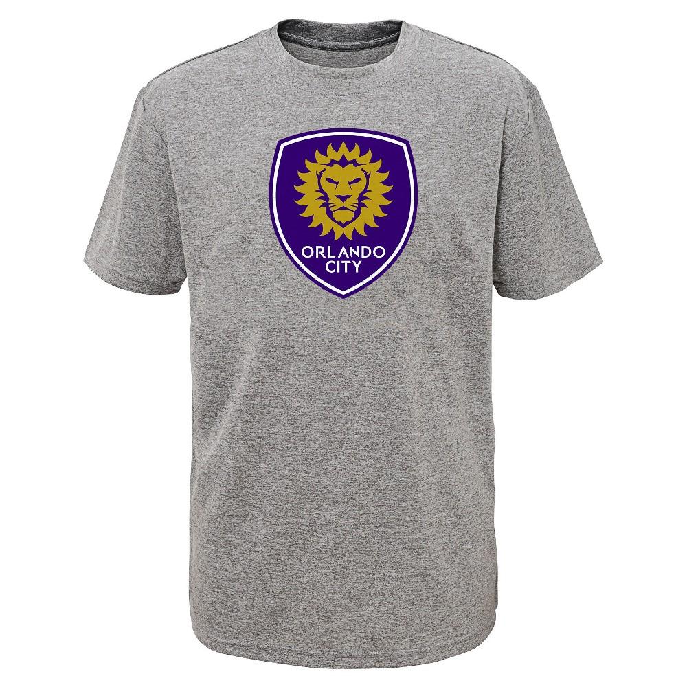 Boys' Short Sleeve Penalty Kick Gray Performance T-Shirt Orlando City SC M, Multicolored