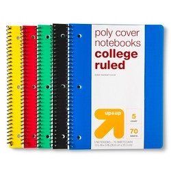 5pk 1 Subject College Ruled Spiral Notebooks - Up&Up™