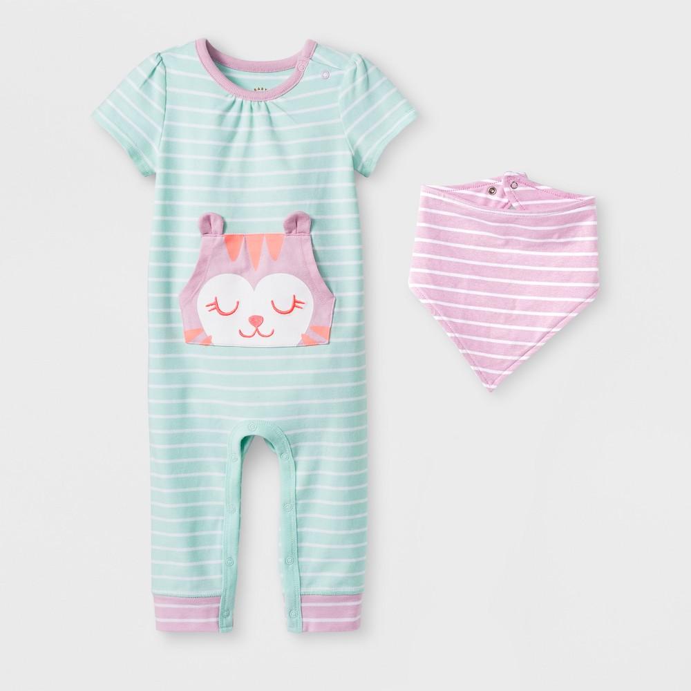 Baby Girls' 2pc Kanga Pocket Romper with Bib Set - Cat & Jack Turquoise 0-3M, Blue
