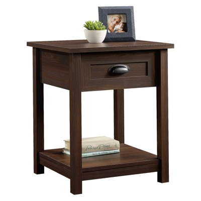 County Line Nightstand With Drawer and Storage Shelf - Rum Walnut - Sauder