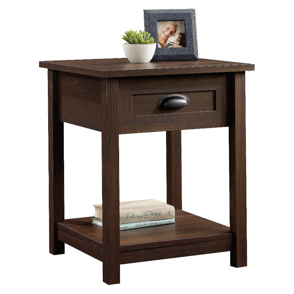 County Line Nightstand With Drawer and Storage Shelf - Rum Walnut (Brown) - Sauder