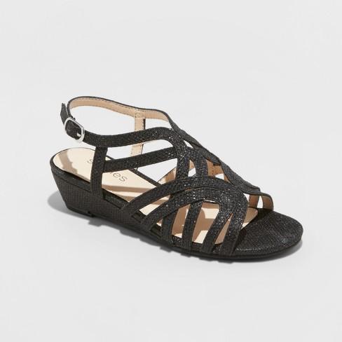 Girls' Stevies #Starredd Dressy Ankle Strap Sandals - Black 1 - image 1 of 3