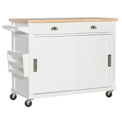 Kitchen Island Wood/White - Linon Home Decor
