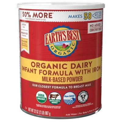 Earth's Best Organic Infant Formula with Iron Powder - 32oz