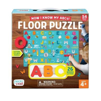 Chuckle & Roar Now I Know My ABC's Kids' Wooden Alphabet Floor Puzzle - 54pc