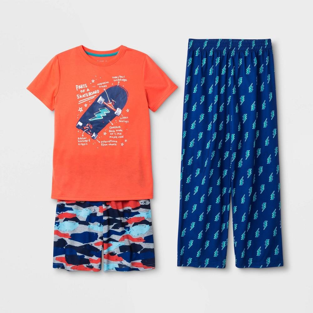 Image of Boys' Graphic Print 3pc Pajama Set - Cat & Jack Orange/Blue L, Boy's, Size: Large, Blue/Orange