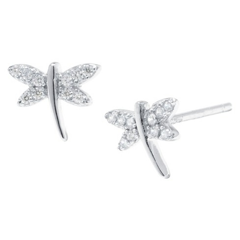 Sterling Silver Cubic Zirconia Dragonfly Stud Earrings - Silver/Clear - image 1 of 1
