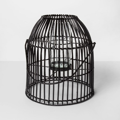 15  x 13.2  Iron And Rattan Pillar Candle Holder Lantern Black - Project 62™