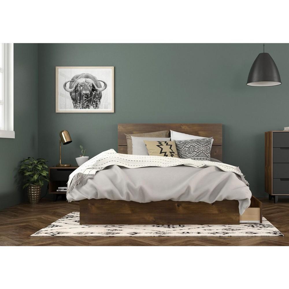 Full 3pc Oscuro Bedroom Bundle Truffle Black Nexera