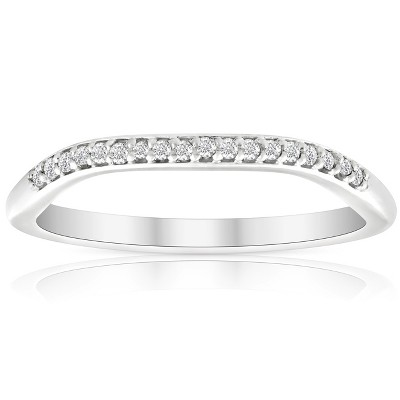 Pompeii3 .10Ct Lab Created Diamond Curved Contour Wedding Band Certified Ring White Gold - Size 7